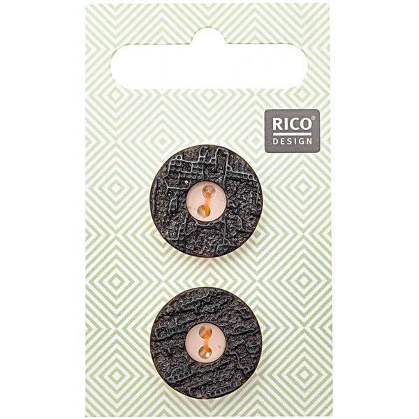Rico Design Trachtenknöpfe Hirschhornoptik 2cm 2 Stück