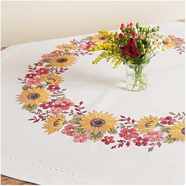 Rico Design Stickpackung Decke Sonnenblumen 90x90cm