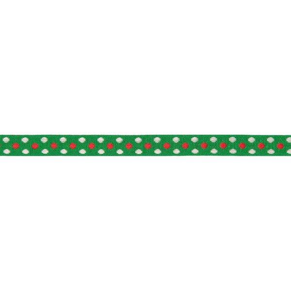 Rico Design Ribbon grün Punkte rot-silber 2m