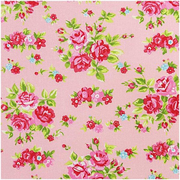 Rico Design Stoff Blumen rosa-rot 50x160cm