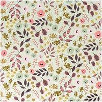 Rico Design Stoff Blumen und Blätter mint-gold 50x140cm