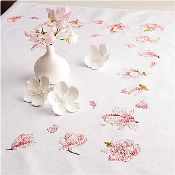 Rico Design Stickpackung Decke Magnolien 95x95cm