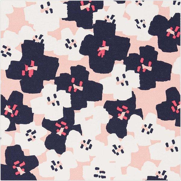 Rico Design Druckstoff Okina Hana kleine Blumen pink-schwarz 140cm
