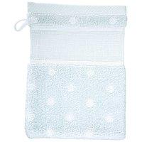 Rico Design Waschhandschuh blau mit weißen Punkten 15x21cm