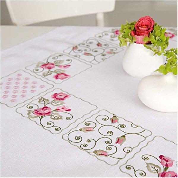 Rico Design Stickpackung Decke Rosen Patchwork 90x90cm